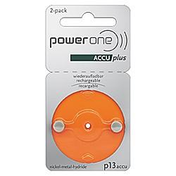 Piles rechargeables PowerOne p13 ACCU plus - paquet de 2 batteri